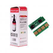 Set de reîncărcare PANTUM PC-211RB (1 cip + 1 sticlă de pulbere de toner) pentru cartușele PC-211 / PC-211EV